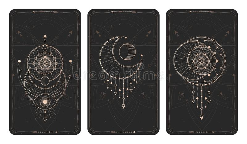 Vektorsatz von drei dunklen Hintergr?nden mit geometrischen Symbolen, Schmutzbeschaffenheiten und Rahmen lizenzfreie abbildung