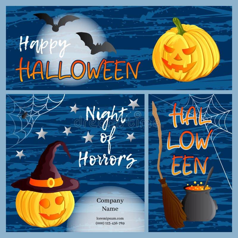 Vektorsatz von drei Halloween-Fahnen und -karten Traditionelle Laterne Feiertagssymbole Jacks O, Hexenhut, Besen, großer Kessel,  lizenzfreie abbildung