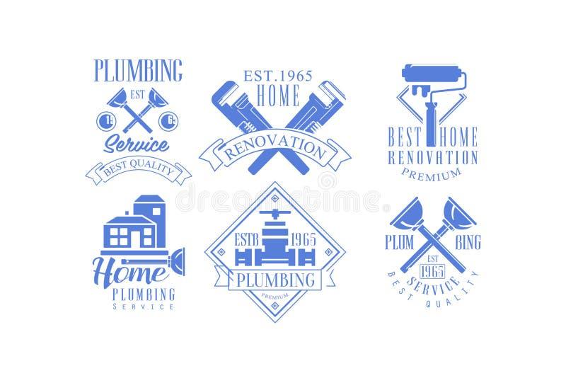 Vektorsatz von 6 einfarbigen Logoschablonen für Plombieren und Baudienstleistungen Haupterneuerung, Hausmalerei und stock abbildung