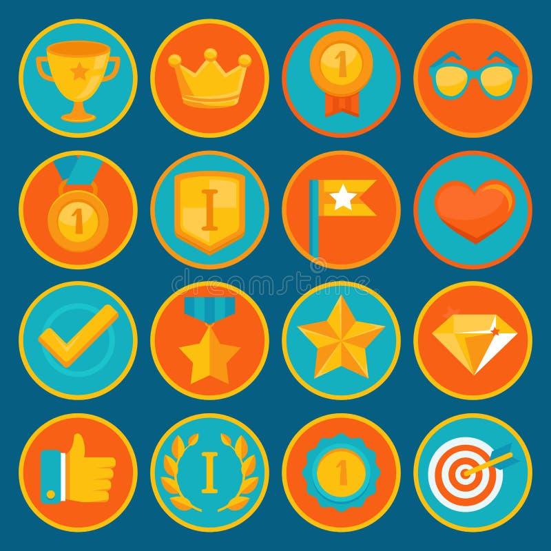 Vektorsatz von 16 flachen gamification Ikonen lizenzfreie abbildung