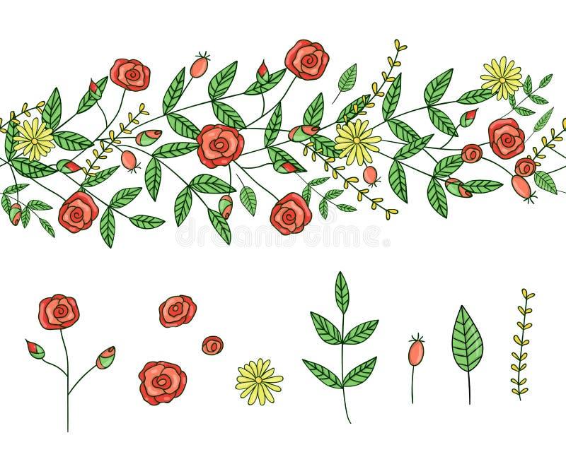 Vektorsatz von Gartenpflanzegestaltungselementen und von Musterb?rste mit stilisiertem L?wenzahn Hand gezeichnete Karikaturartill lizenzfreie abbildung