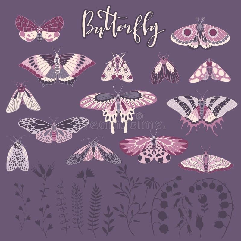 Vektorsatz von Hand gezeichnete Schmetterlinge, Beschriftung und Anlagen stock abbildung