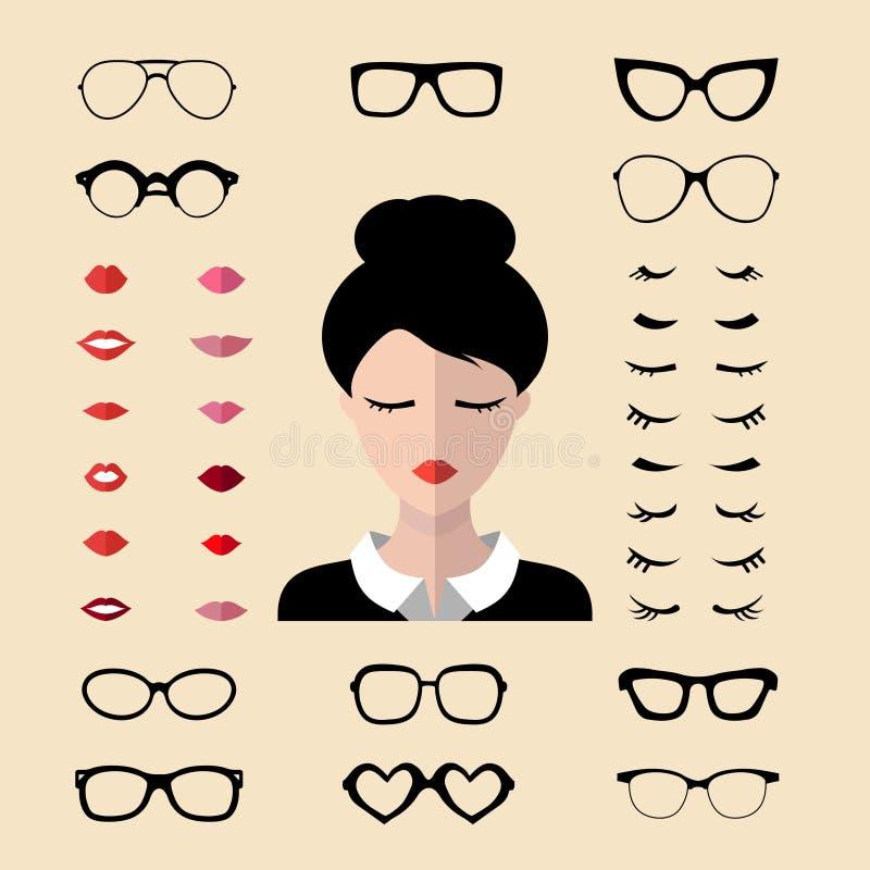 Vektorsatz von kleiden oben Erbauer mit den verschiedenen Frauenwimpern, Gläser, Lippen in der flachen Art Frau stellt Ikonenschö vektor abbildung
