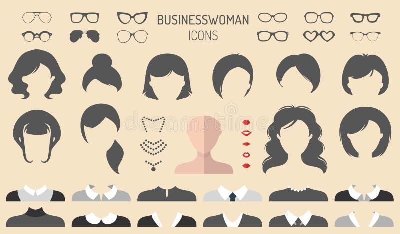 Vektorsatz von kleiden oben Erbauer mit Geschäftsfrauhaarschnitten, den Lippen usw. In der flachen Art Frau stellt Ikonenschöpfer stock abbildung