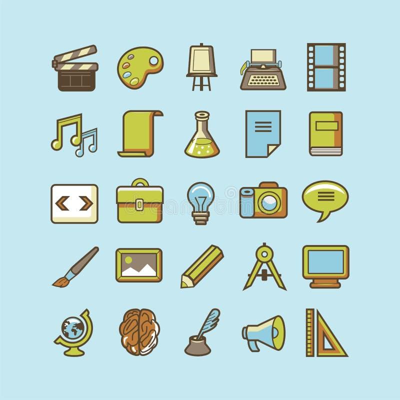 Vektorsatz von 25 kreativen Ikonen in der Retro- und linearen Art stock abbildung