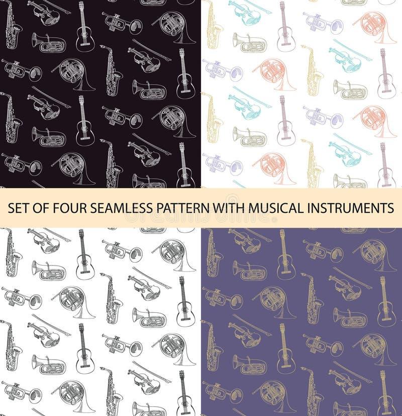Vektorsatz von 4 nahtlosen Mustern mit Musikinstrumenten der Skizze stock abbildung