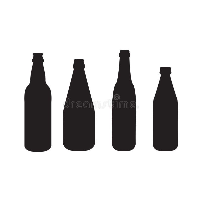 Vektorsatz von 4 schwarzen Schattenbildern der Bierflaschen lizenzfreie abbildung