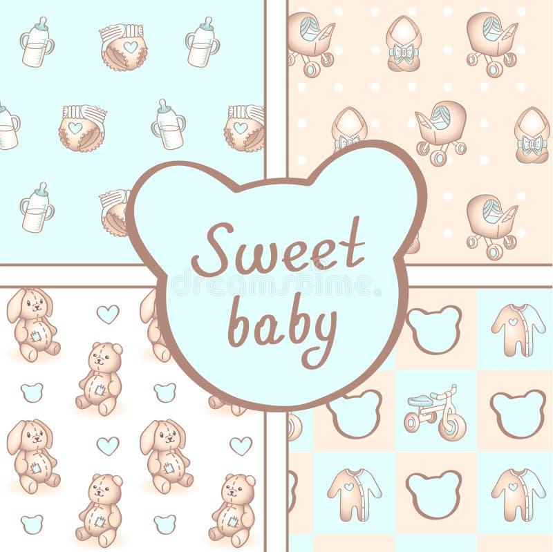 Vektorsatz von vier nahtlosen Babymustern Hintergrund für alles- Gute zum Geburtstag oder Einladungskarte lizenzfreie abbildung