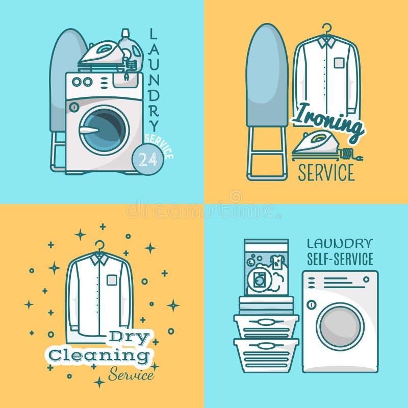 Vektorsatz Wäschereiaufkleber, Logos in der modernen linearen Art vektor abbildung