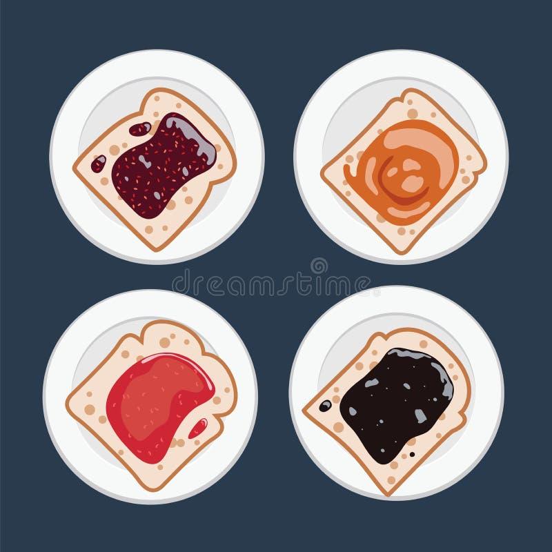 Vektorsatz weiße Toastbrotscheiben mit Fruchtmarmelade stock abbildung