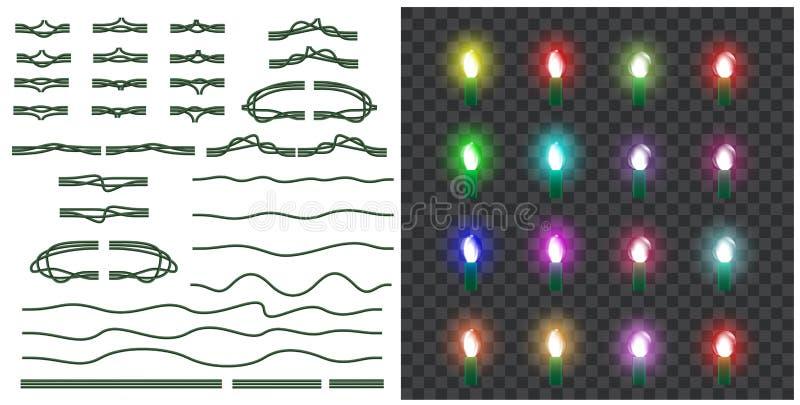 Vektorsatz Weihnachtslichter lokalisiert auf transparentem backgroun stock abbildung