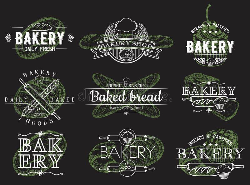 Vektorsatz Weinlesebäckereiembleme, -logos, -ausweise und -aufkleber lizenzfreie abbildung