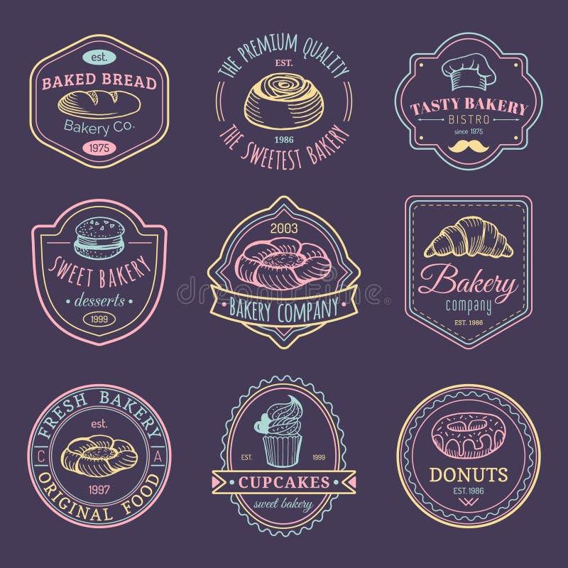 Vektorsatz Weinlesebäckereilogos Retro- Emblemsammlung mit süßem Plätzchen Hippie-Gebäckikonen für Café, Shop usw. lizenzfreie abbildung