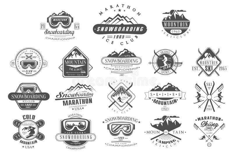 Vektorsatz Weinleselogos für Skiclub Snowboardingmeisterschaft Einfarbige Embleme des Turniers Extremer Winter vektor abbildung