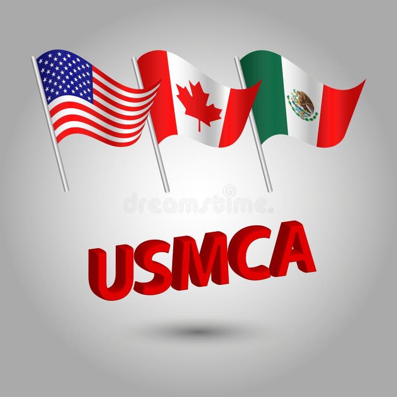 Vektorsatz wellenartig bewegender Amerikaner, Kanadier und mexikanische Flaggen auf silbernem Pfosten - Ikone von Zuständen - die vektor abbildung