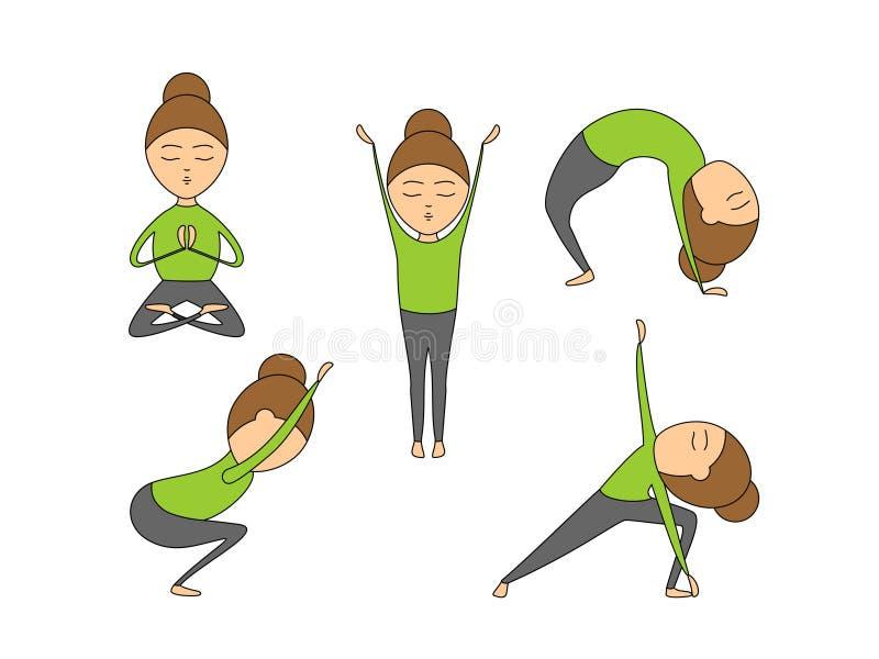 Vektorsatz Yoga wirft für Gesundheit und Flexibilität auf lizenzfreie abbildung