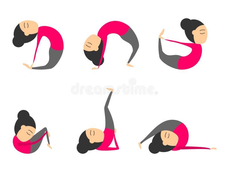 Vektorsatz Yoga wirft für Gesundheit und Flexibilität auf Frauenyogaübungen für Klasse oder Studio Konzept des Sportartlebens lizenzfreie abbildung