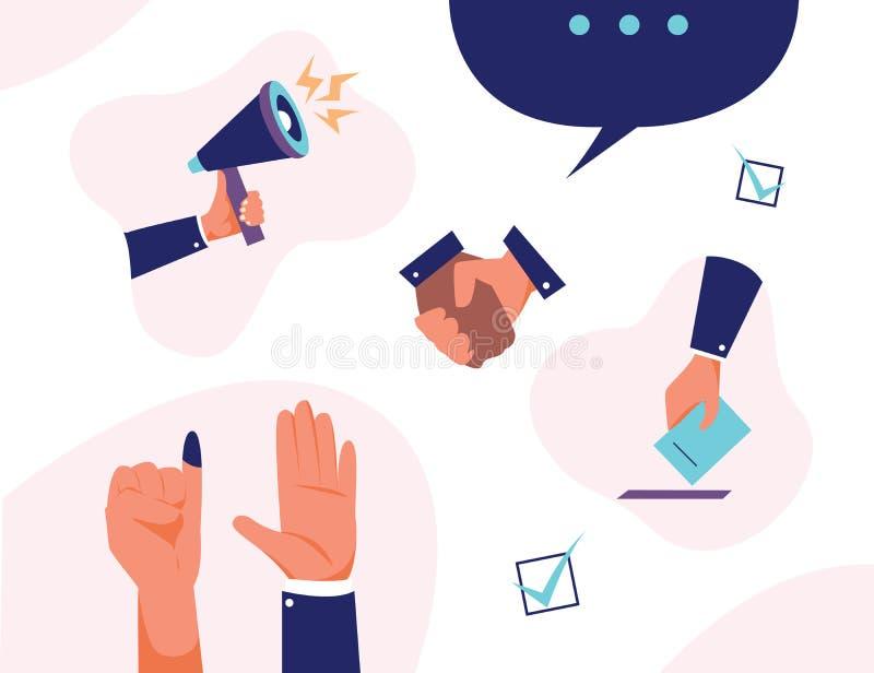 Vektorsatzdemokratie-Handabstimmung für Präsidenten und diplomatisches vektor abbildung