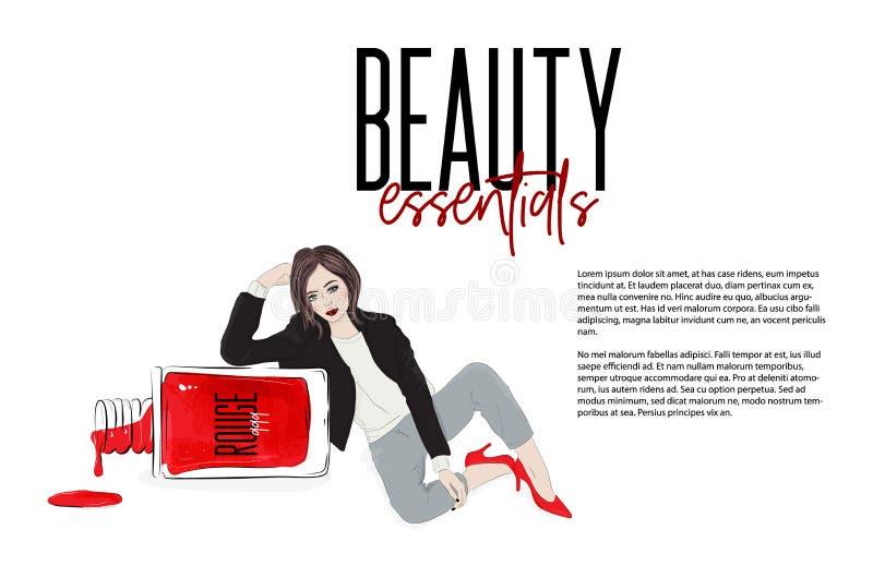 Vektorschönheitsillustration: Modemädchen, das nahe Nagellackflasche sitzt Beuatiful-Frau in den sexy roten hohen Absätzen lizenzfreie abbildung