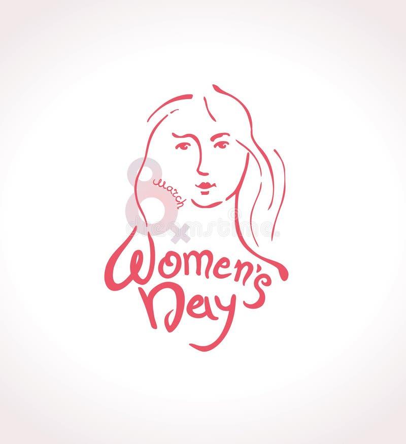 Vektorschablone der Frauen lineare moderne Tagesmit Briefgestaltung am 8. März und weiblichem Gesicht Elegante Grußkarte internat lizenzfreie abbildung