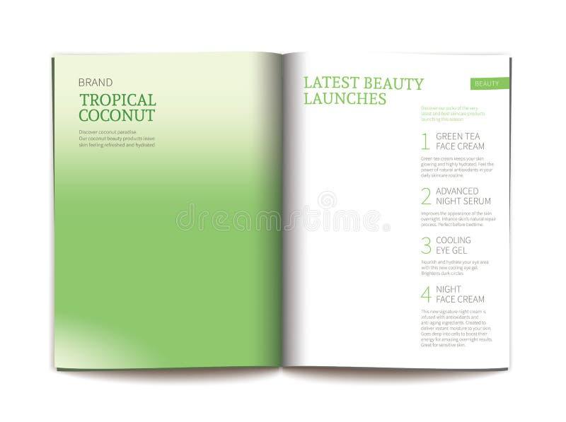 Vektorschablone für glatte kosmetische Zeitschrift vektor abbildung