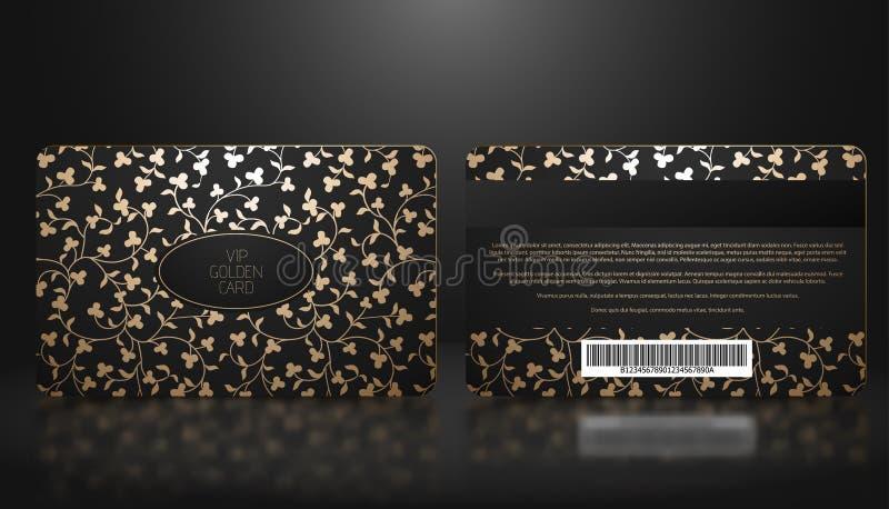 Vektorschablone Mitgliedschaft oder Loyalität der schwarzen Promi-Karte mit elegantem goldenem Blumenluxusmuster Front- und Rücks vektor abbildung