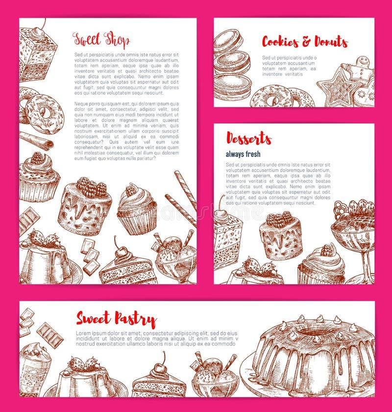 Vektorschablonen für Bäckereishop backt dessers zusammen lizenzfreie abbildung