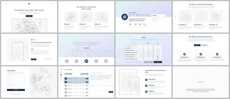 Vektorschablonen für Website entwerfen, minimale Darstellungen, Portfolio UI, UX, GUI Design von Titeln, Armaturenbrett, Formen vektor abbildung