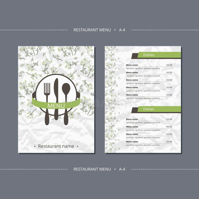 Vektorschablonen-Restaurantmenü mit Fenchel lizenzfreie abbildung