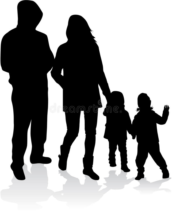 Vektorschattenbild der Familie stock abbildung