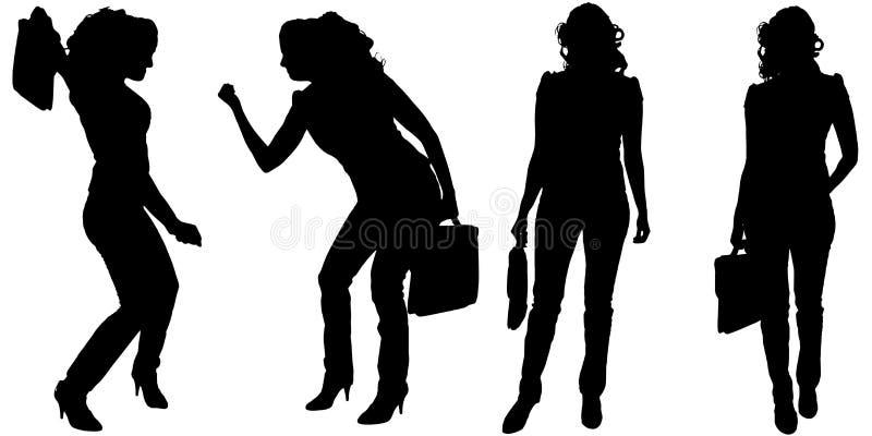 Vektorschattenbild der Geschäftsfrau stock abbildung