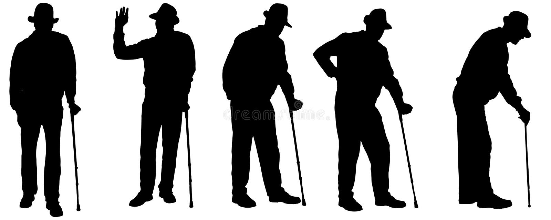 Vektorschattenbild des alten Mannes stock abbildung