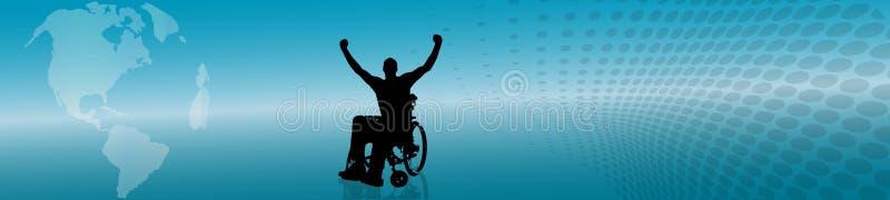 Vektorschattenbild des Mannes im Rollstuhl stock abbildung