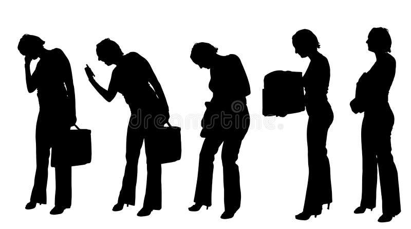 Vektorschattenbild einer Geschäftsfrau stock abbildung