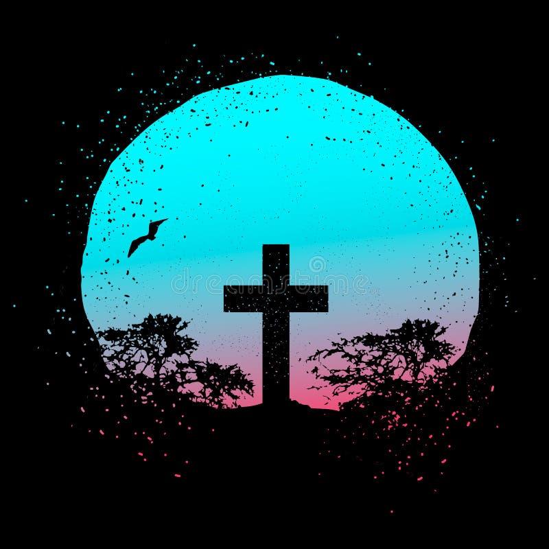 Vektorschattenbild eines Kreuzes auf einem Steigungsschmutz-Kreishintergrund mit Baumschattenbildern lizenzfreie abbildung