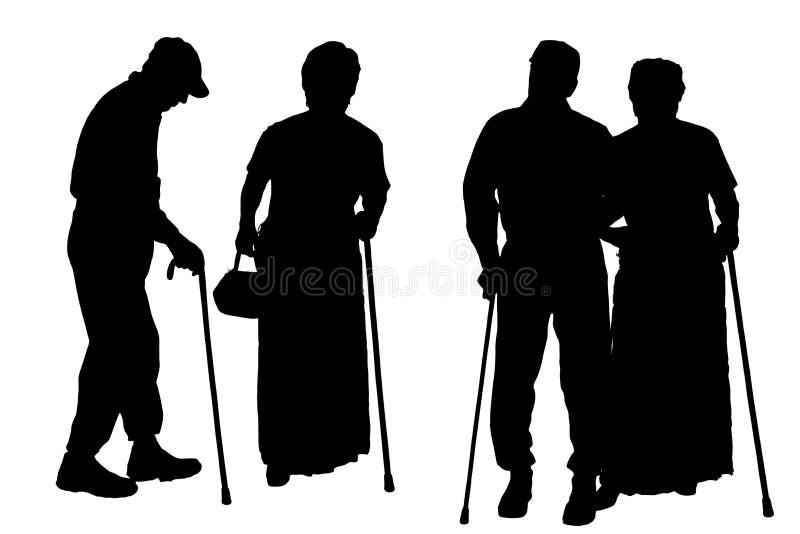 Vektorschattenbild von alten Leuten lizenzfreie abbildung