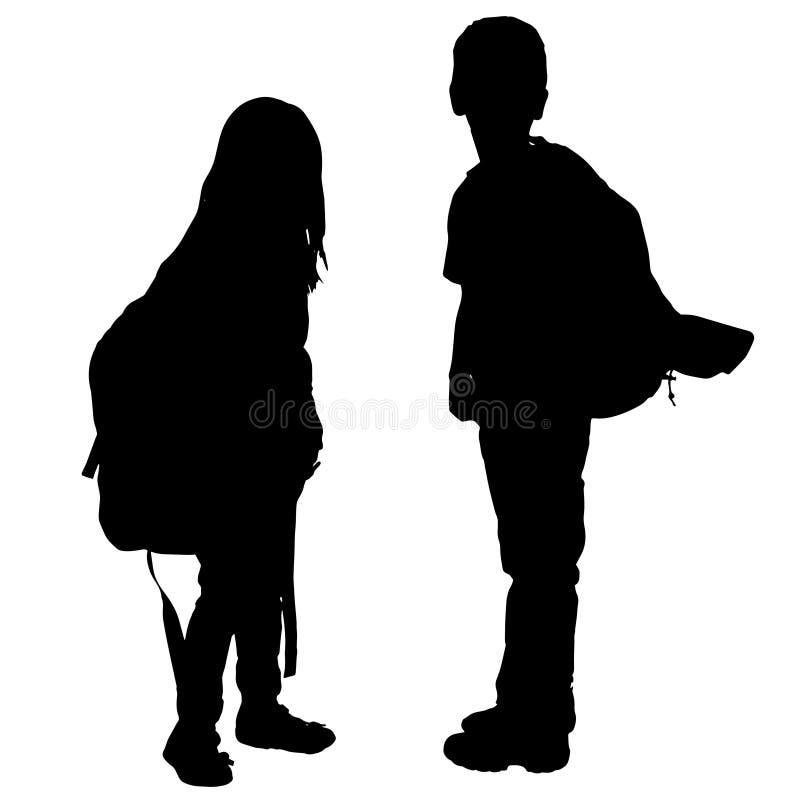 Vektorschattenbild von Kindern stock abbildung