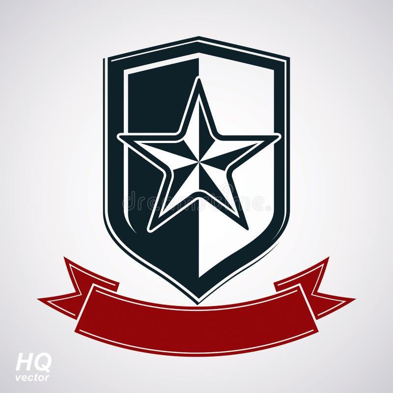 Vektorschild mit fünfeckigem sowjetischem Stern und dekorativem curvy r stock abbildung