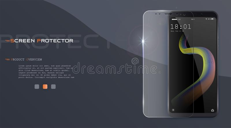 Vektorschirmschutzfilm- oder Glasdeckel Schirm schützen Glas Realistischer Smartphonevektor vektor abbildung