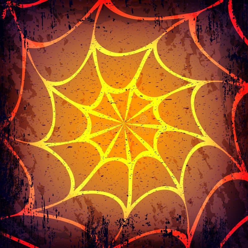 Vektorschmutz Halloween-Dunkelheitshintergrund Hand gezeichnetes Spinnennetz stock abbildung