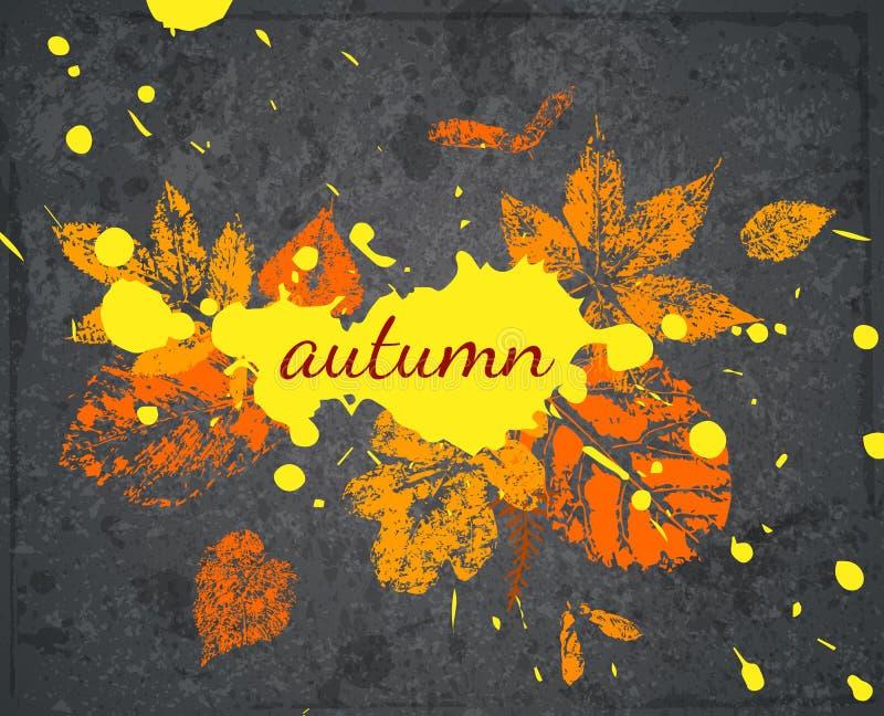Vector Grunge Banner zum Thema Herbst Postkarte mit Blättern und Blenden lizenzfreie abbildung