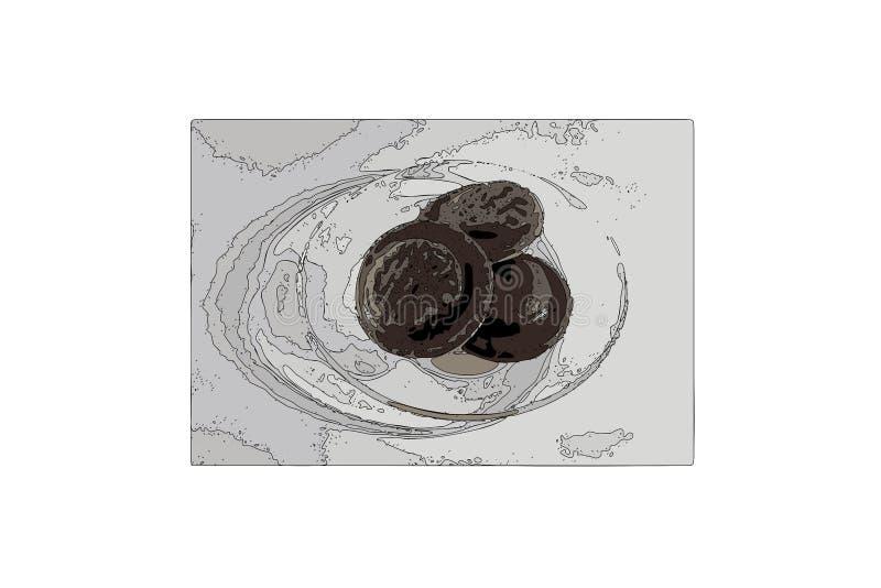Vektorschokoladensplitterplätzchen auf einer Platte S??er Nachtisch Geschmackvolle Nahrung lizenzfreie abbildung