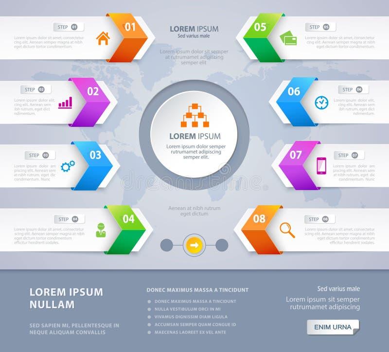 Vektorschrittwahlpfeilfahnen Infographic-Design ENV 10 lizenzfreie abbildung