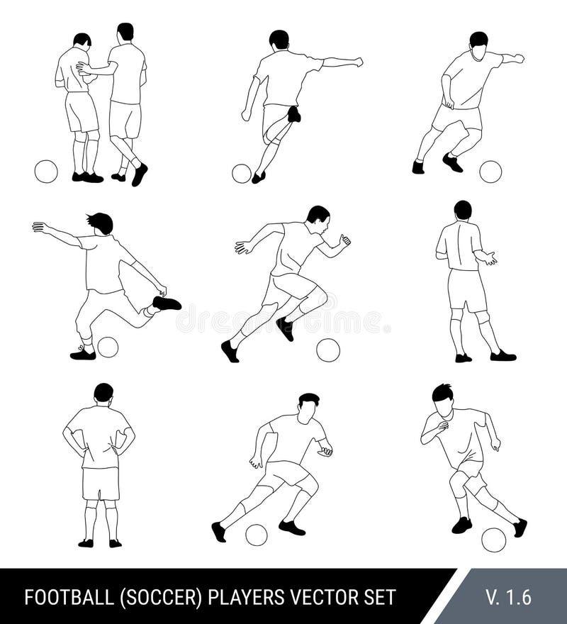 Vektorschwarz-Entwurfsschattenbilder von Fußballspielern auf weißem Hintergrund Grafische vereinfachte Art Verschiedene Schattenb vektor abbildung
