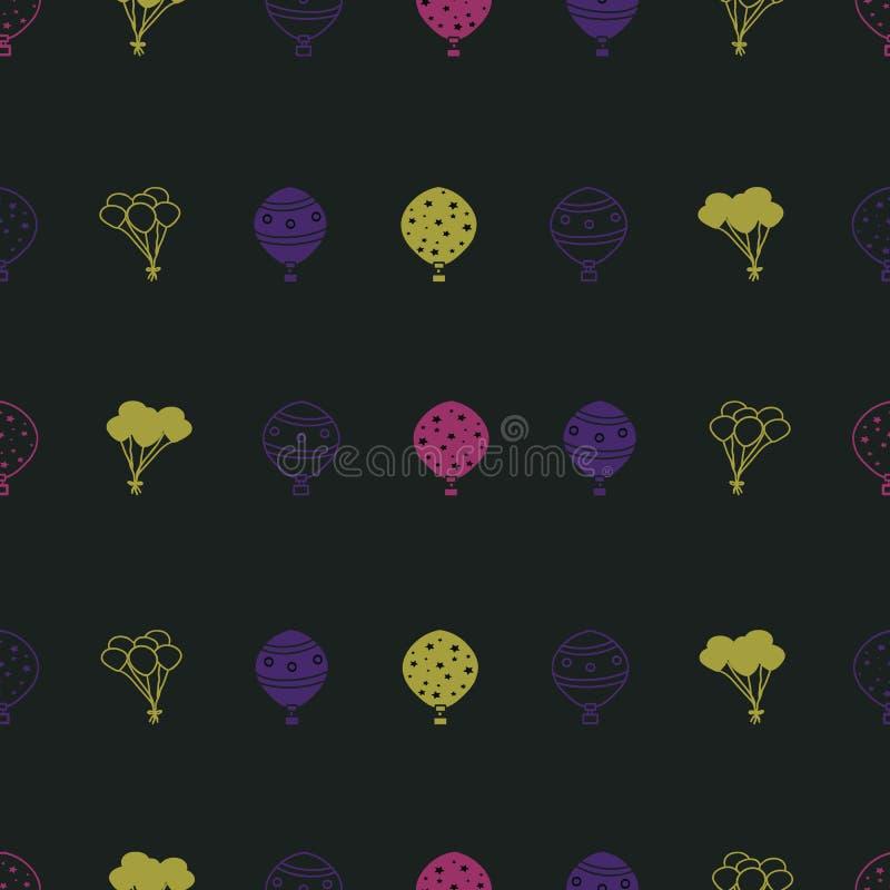 Vektorschwarzhintergrund mit horizontalem nahtlosem Wiederholungsmuster der bunten Ballone stock abbildung