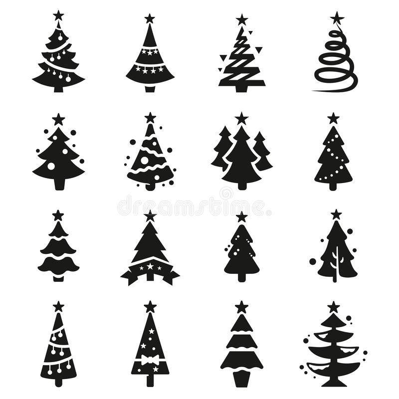 Vektorschwarzikonen des Weihnachtsbaums lizenzfreie abbildung