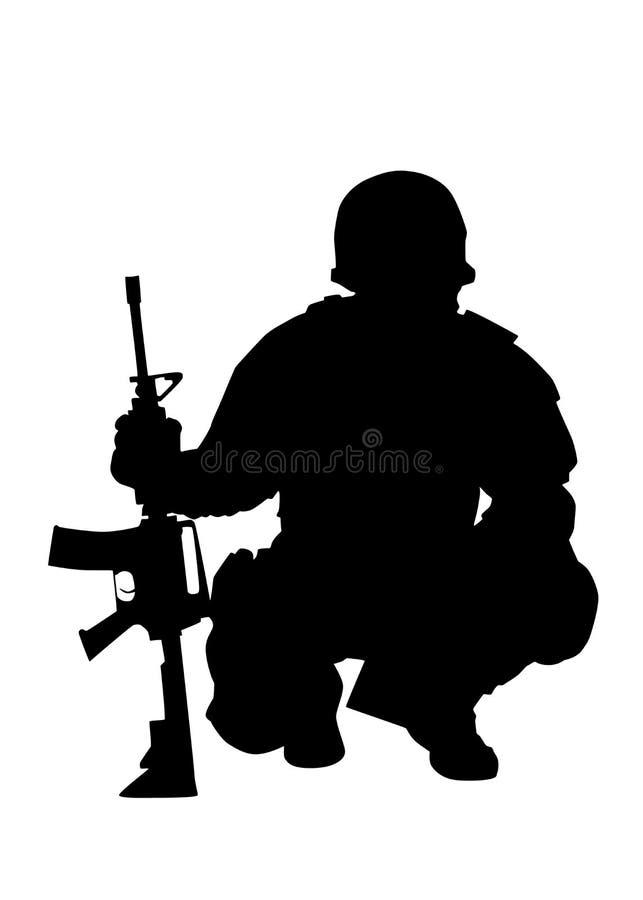 Vektorschwarzschattenbild des Armeekommandos Kämpfer lokalisiertes lizenzfreie abbildung