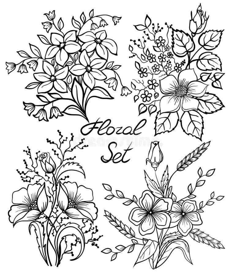 Vektorschwarzweiss-Blumen eingestellt Blumensammlung mit Blättern und Blumen, Weinlese des Handabgehobenen betrages lizenzfreie abbildung