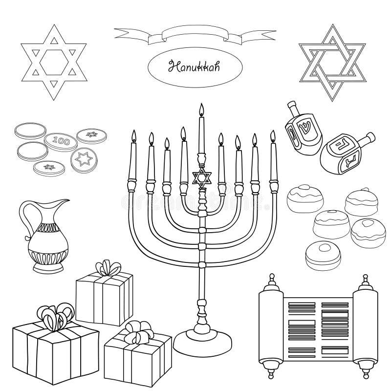 Vektorschwarzweiss-Satz Chanukka-Gegenstände stock abbildung