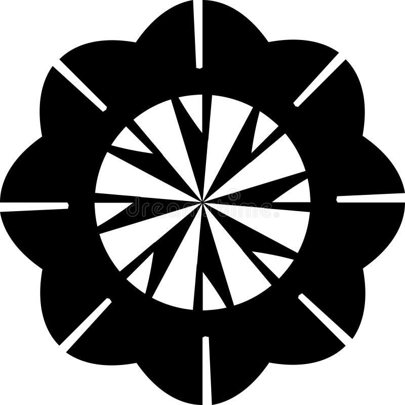 Vektorschwarzweiss-Zusammenfassungsgeometrisches geometrisches Blumenmandalamuster für Knopf und Brosche usw. lizenzfreie abbildung
